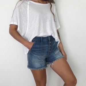 [Free People] NWT exposed button denim shorts
